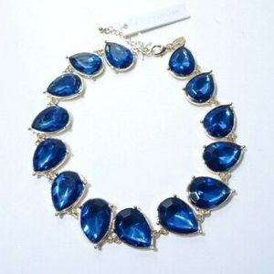 NWOT Ann Taylor Metallic Blue Teardrop Necklace